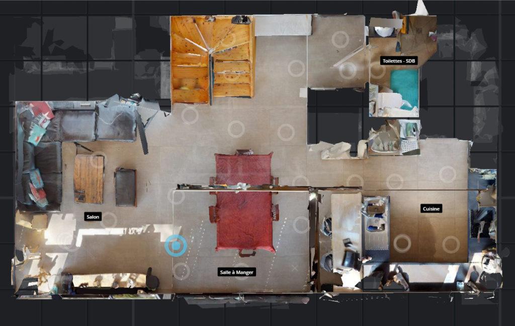 Vue plan d'étage Matterport